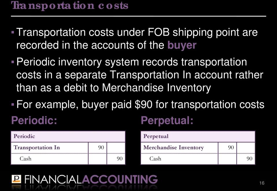 rather than as a debit to Merchandise Inventory For example, buyer paid $90 for transportation costs