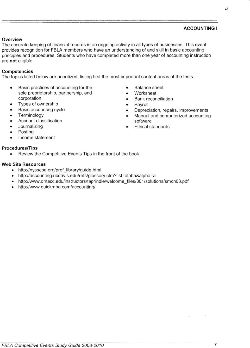 ACCOUNTING I  Competencies The topics iisted below are