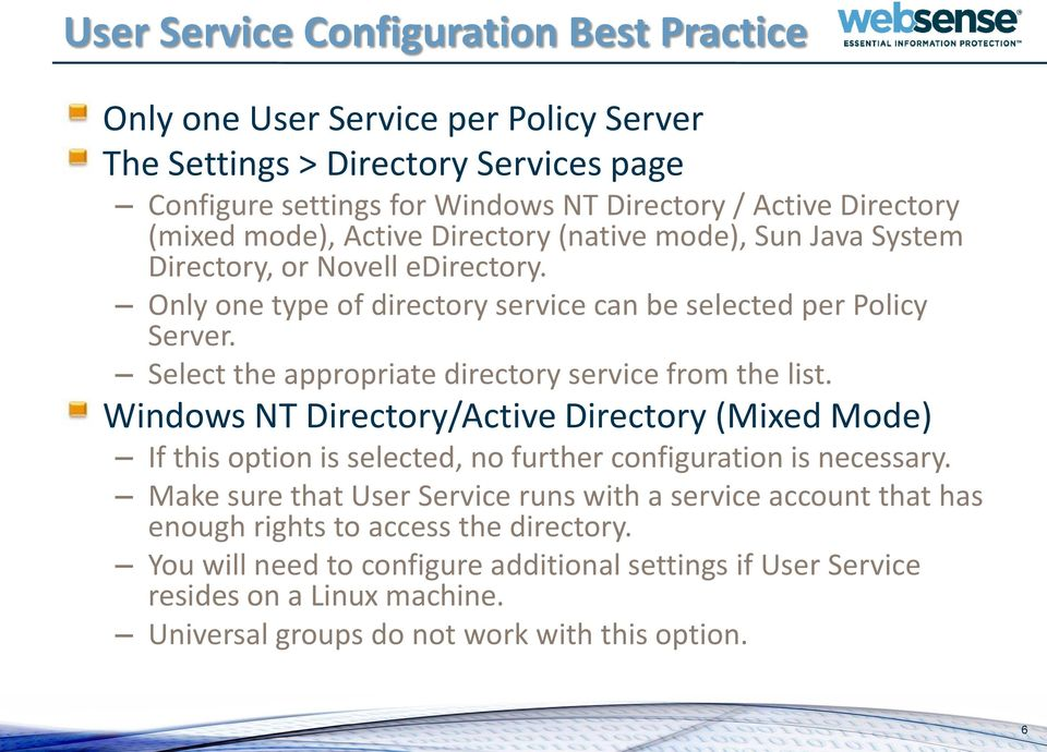 User Service and Directory Agent: Configuration Best