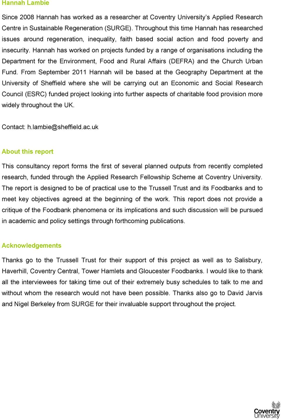 The Trussell Trust Foodbank Network Exploring The Growth Of