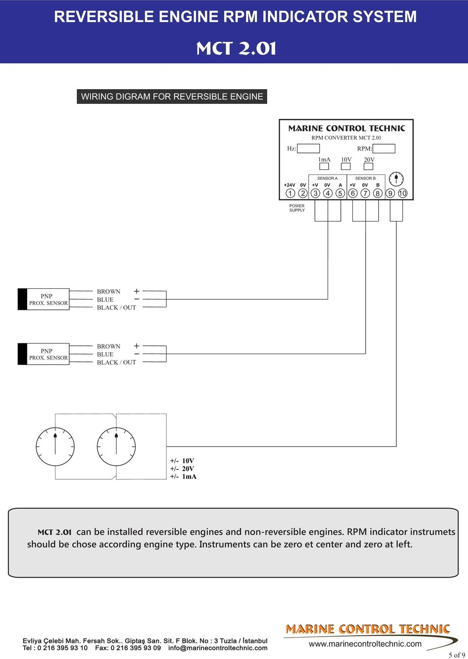 Reversible Engine Rpm Indicator System Mct Pdf 20v W Diesel Diagram Sensor Brown Blue Black Out 10v