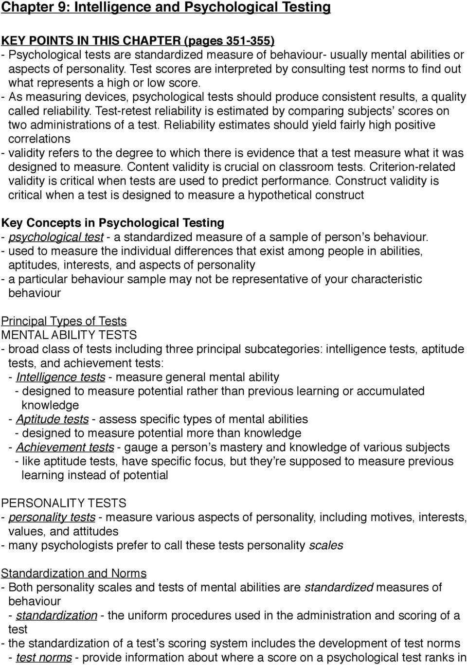 Chapter 9: Intelligence and Psychological Testing - PDF