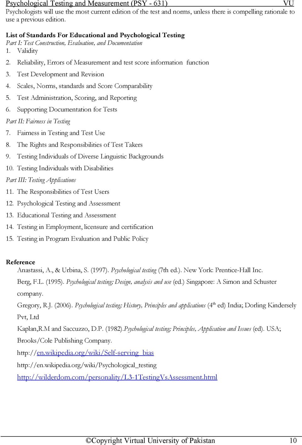 Psychological Testing and Measurement (PSY - 631) Table of