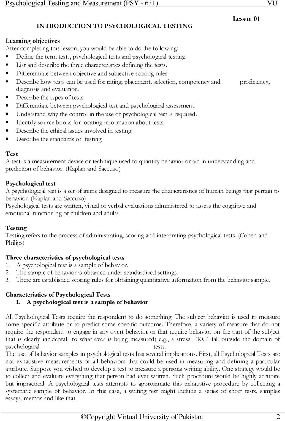 Psychological Testing and Measurement (PSY - 631) Table of Contents