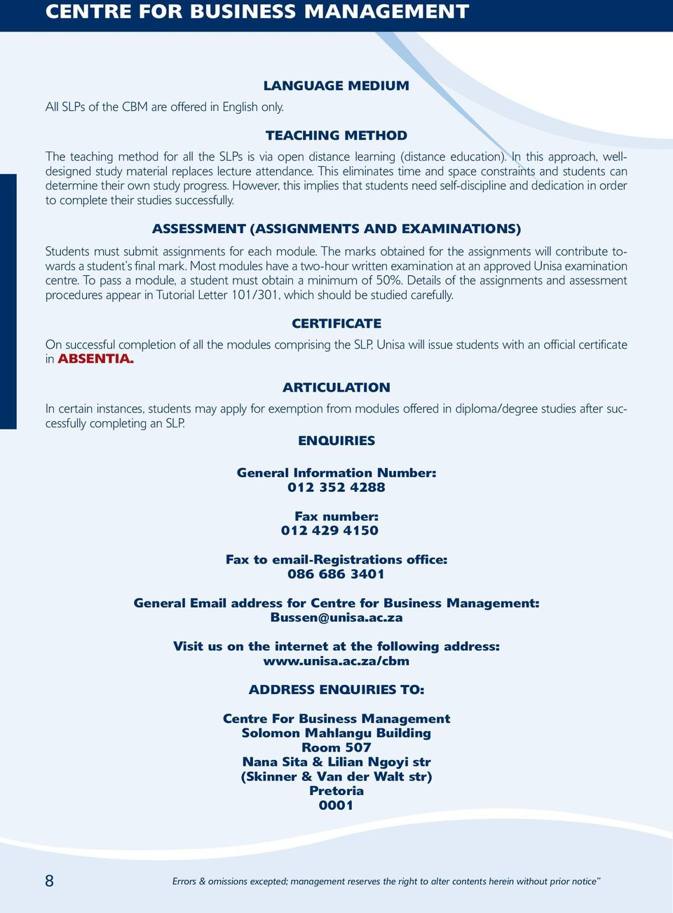 Mission Of The Centre For Business Management Pdf