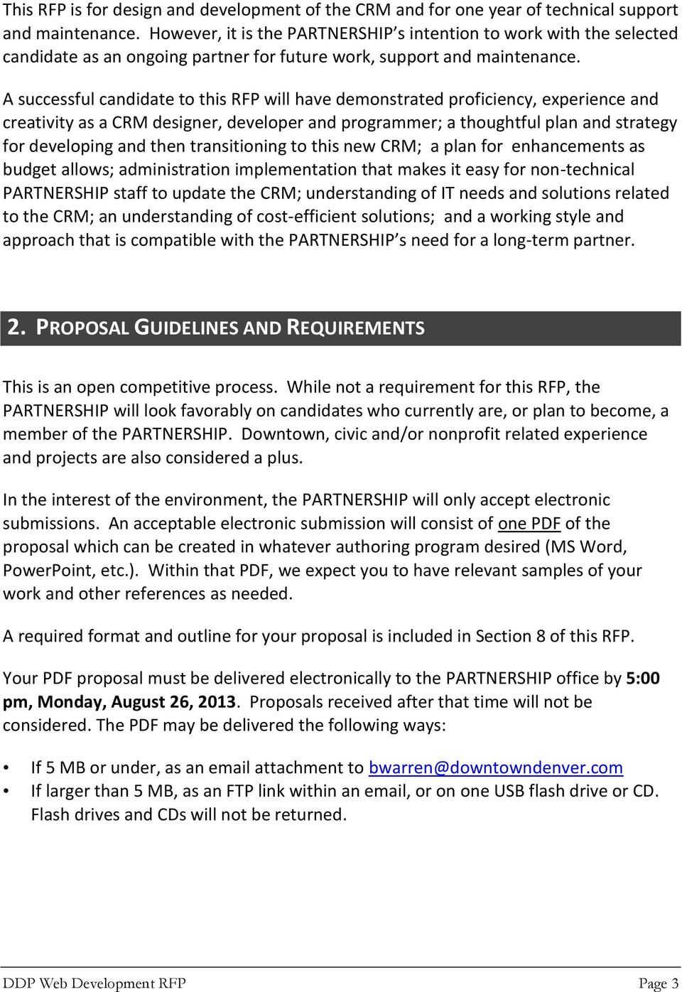 REQUEST FOR PROPOSAL  Customer Relationship Management