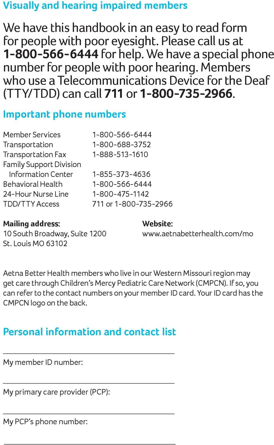 AETNA BETTER HEALTH OF MISSOURI  Learn about your health
