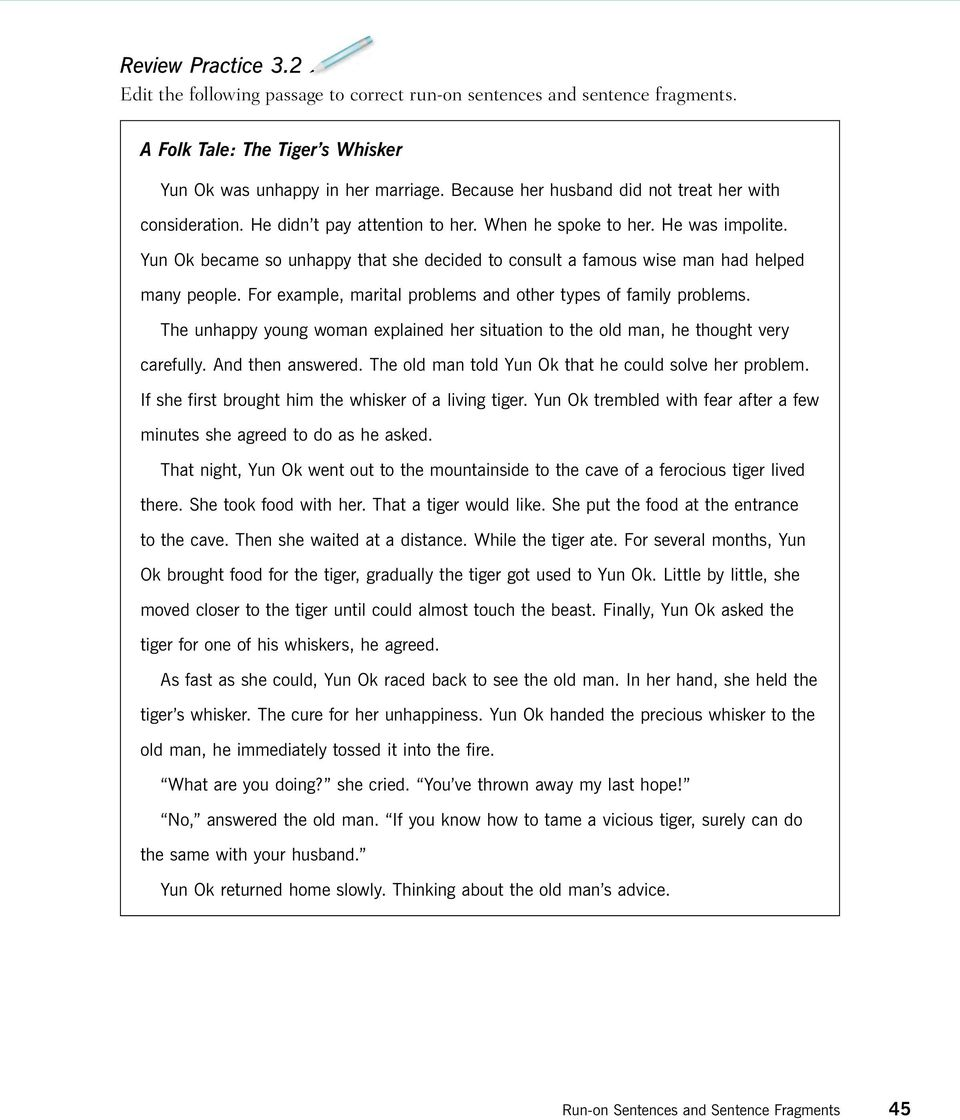 Worksheets Fragments And Run Ons Worksheet run on sentences and sentence fragments pdf 45 yun ok became so unhappy that she decided to consult a famous wise man had helped