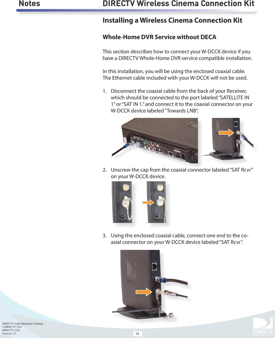 disconnect the coaxial cable from the back of your receiver, which should  be connected to  15 installing a wireless cinema connection kit whole-home  dvr