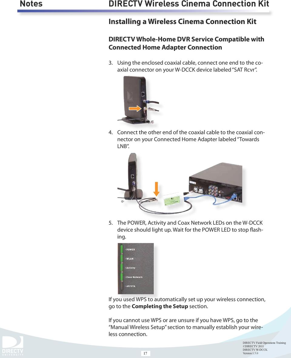 Directv Wireless Cinema Connection Kit Pdf Network Diagram Home Entertainment Connect The Other End Of Coaxial Cable To Connector On Your Connected