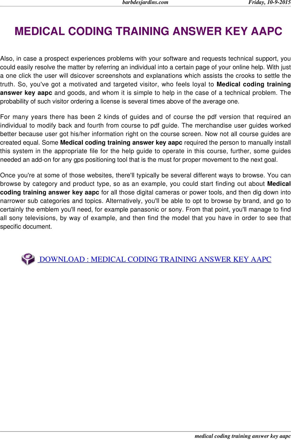 Medical coding training answer key aapc pdf so youve got a motivated and targeted visitor who feels loyal to fandeluxe Images