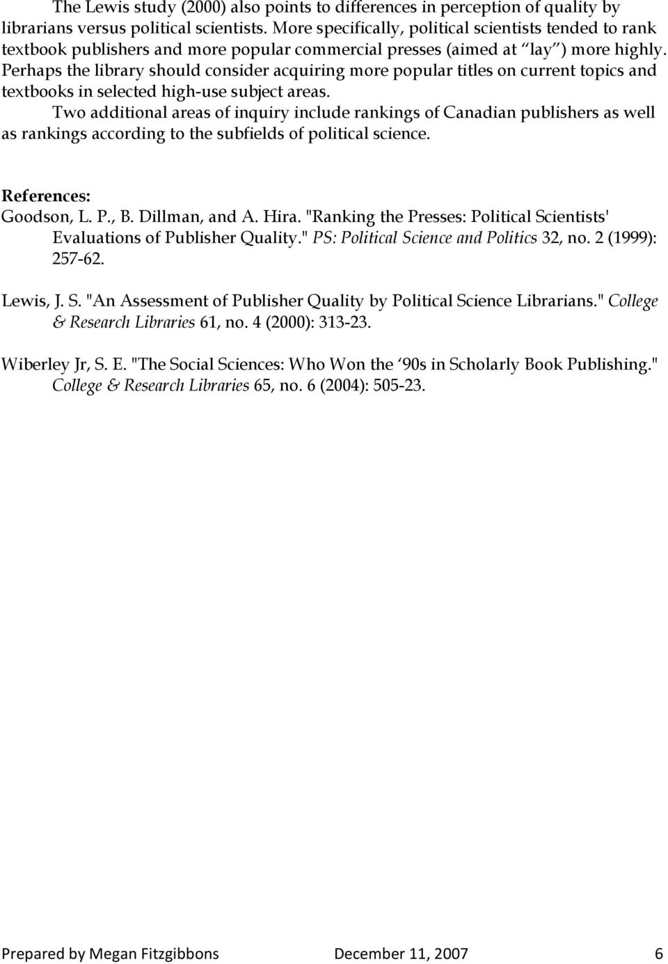 Studies of Political Science publishers rankings - PDF