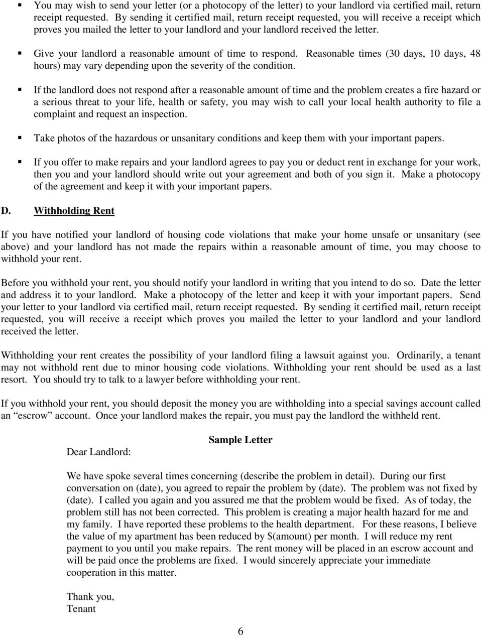 YOU AND YOUR LANDLORD - PDF Withhold Rent Tenant Sample Letters on tenant renting recommendation letter, tenant requesting deposit refund, lease renewal letters samples, tenant proof of residence letter, tenant letter templates, tenant rental verification letter, tenant rent amount letter, tenant rejection letter without explanation, house rules for adults samples, tenant appreciation letter, buyers letters samples, tenant not renewing lease letter, tenant proof of residency, tenant violation letter,