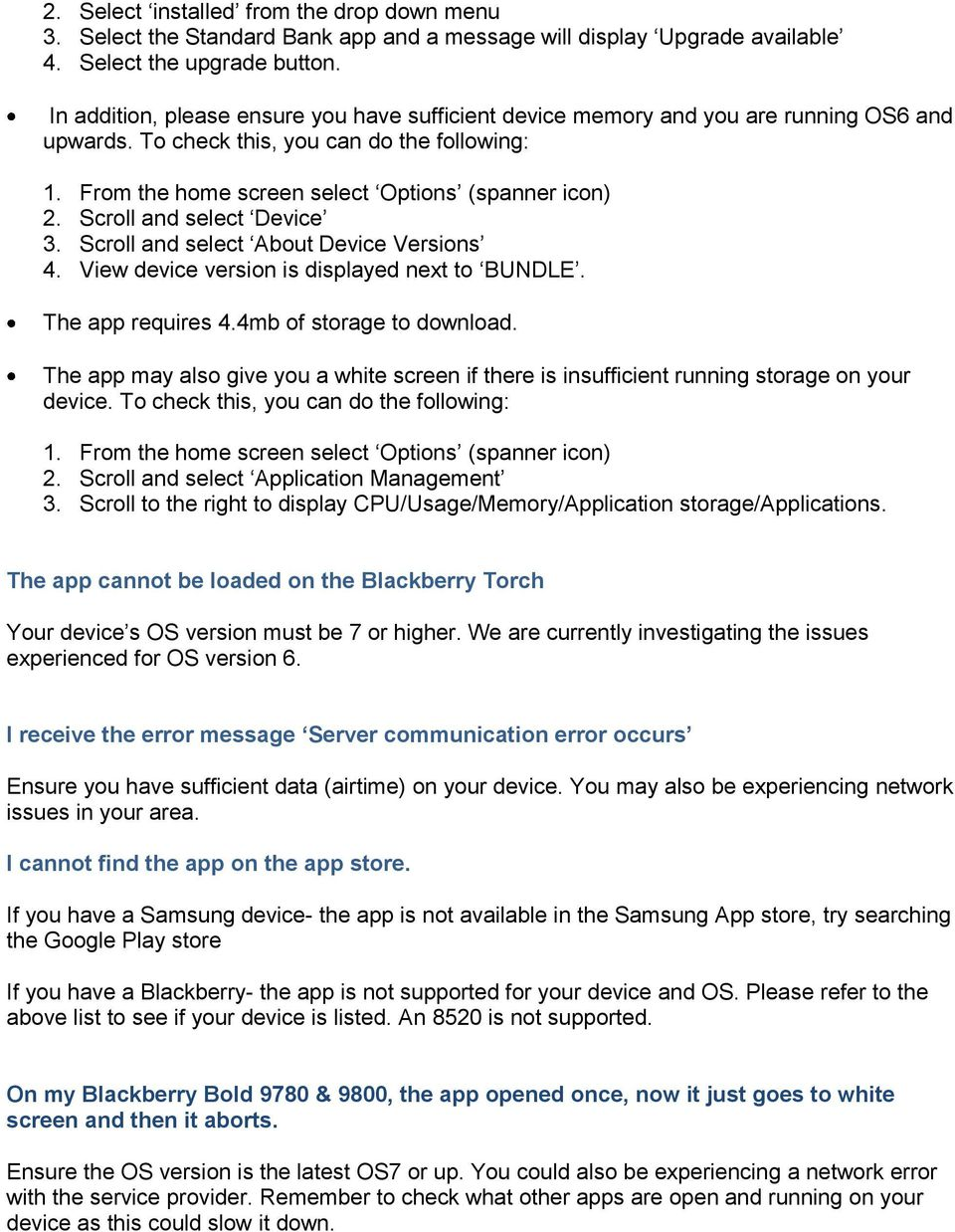 Standard Bank Mobile Banking Frequently Asked Questions FAQ