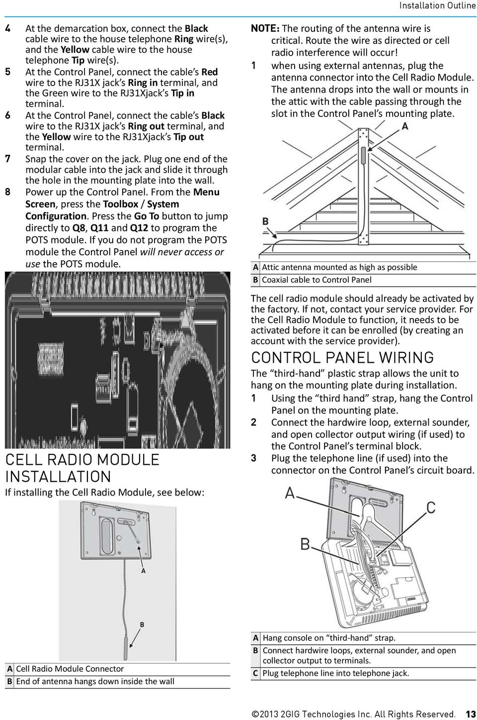 Gocontrol Install Guide Wireless Security System Installation And Rj31x Wiring Diagram 6 At The Control Panel Connect Cable S Black Wire To Jack