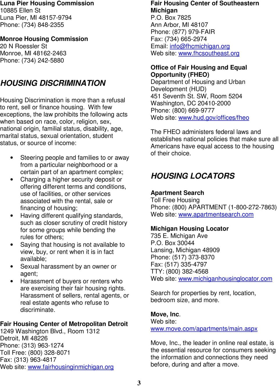 HOUSING  State of Michigan HOME BUYING ASSISTANCE HOUSING