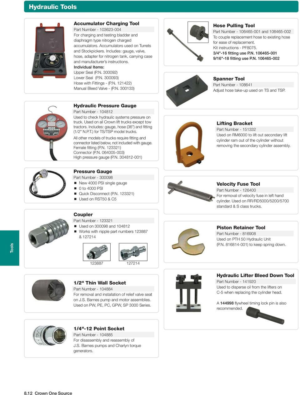 Section 8 Tools Contents Crown Branded Tool Program Pdf Forklift Wiring Diagram N 300133 Hose Pulling Part Number 106465 001 And