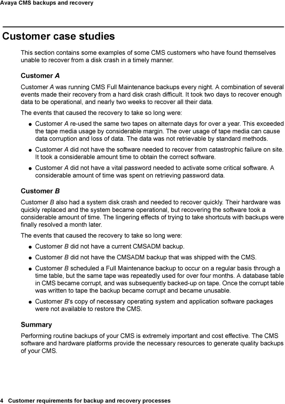 Avaya Call Management System Customer requirements for