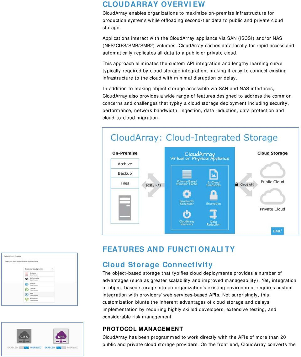 CloudArray caches data locally for rapid access and automatically replicates all data to a public or private cloud.