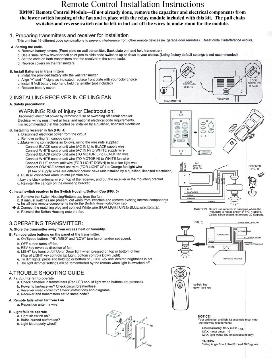 Owners Installation Manual For The Sheridan Mountainair Pine Set 3 Light Wire Schematic Fan And Replace With Relay Module Included This Kit