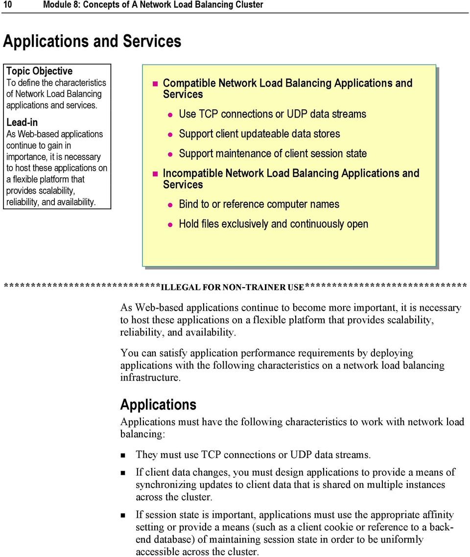 Module 8: Concepts of A Network Load Balancing Cluster - PDF