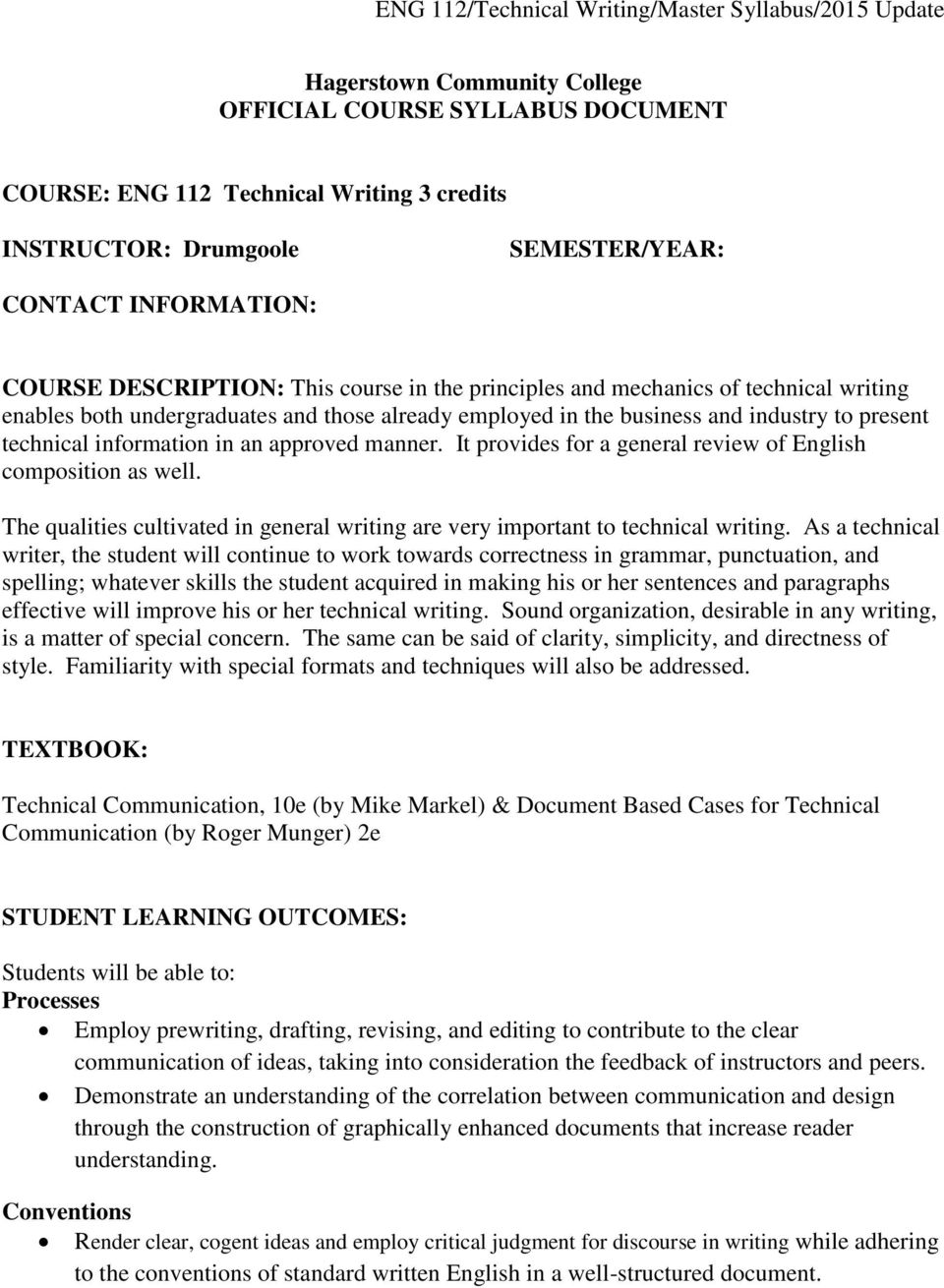 Hagerstown Community College Official Course Syllabus Document Pdf