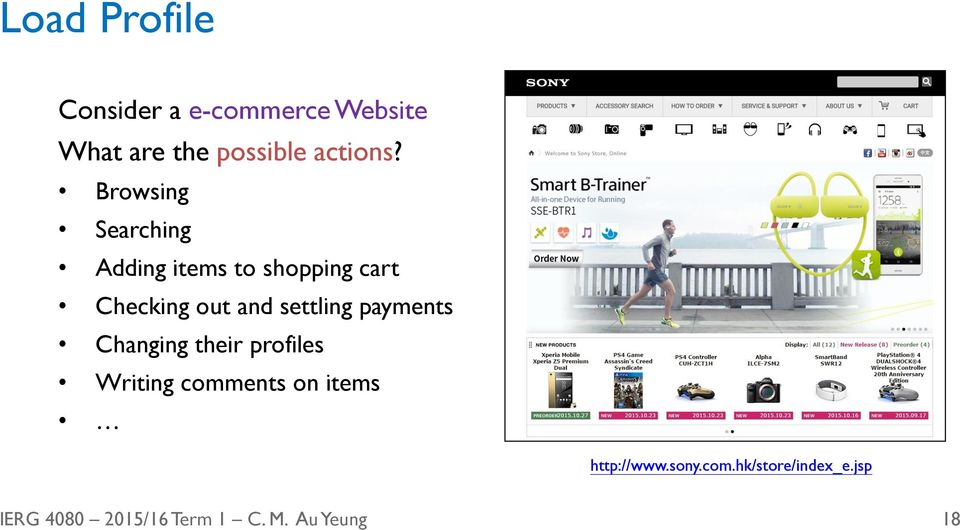 Browsing Searching Adding items to shopping cart Checking out