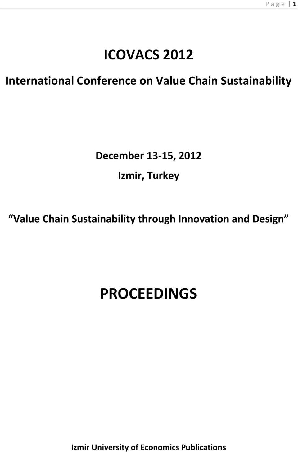 Proceedings icovacs international conference on value chain turkey value chain sustainability through innovation fandeluxe Choice Image