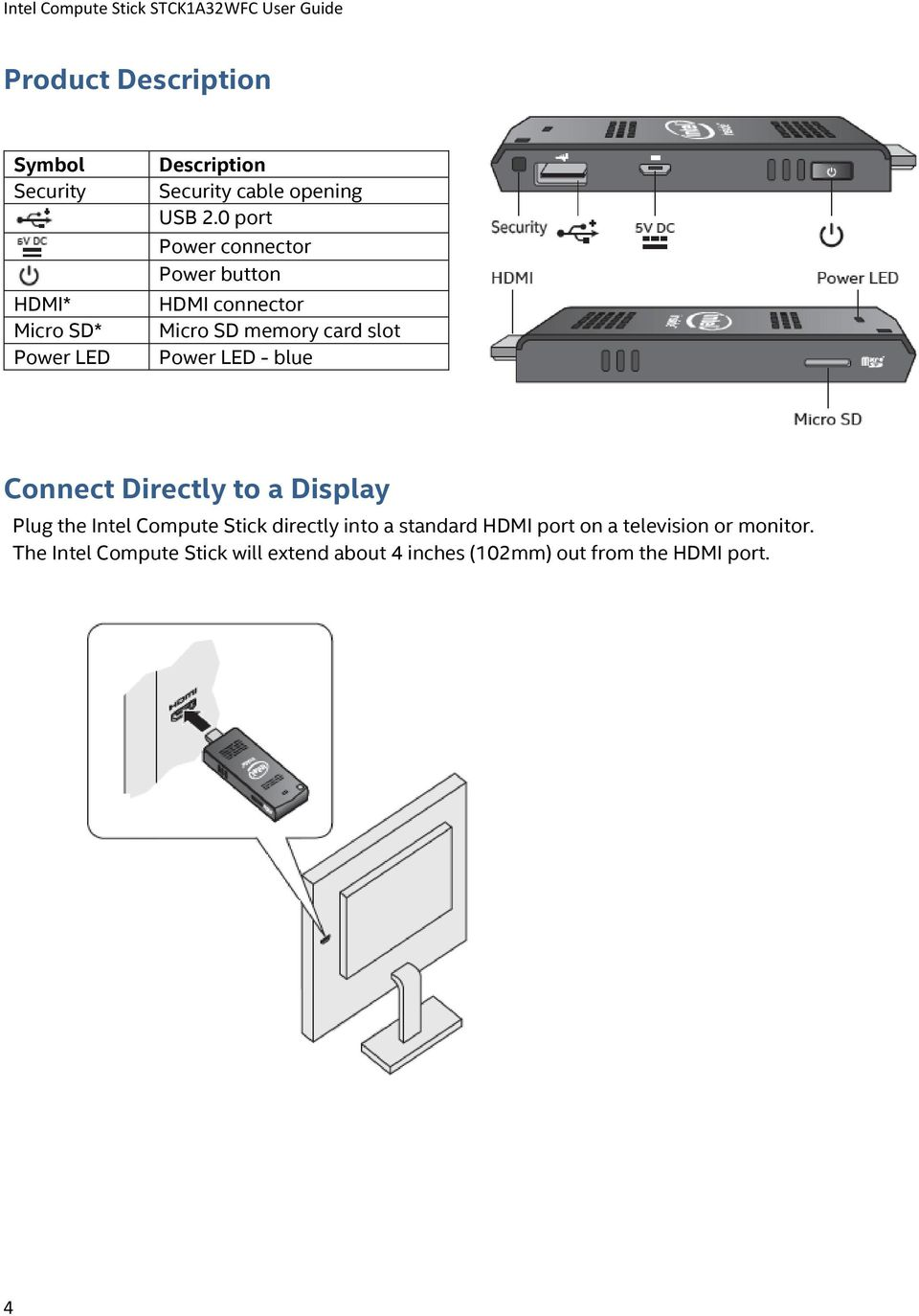 Connect Directly to a Display Plug the Intel Compute Stick directly into a standard HDMI port on a
