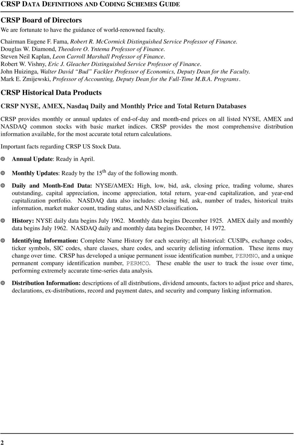 CRSP Data Definitions and Coding Schemes Guide  CRSP NYSE, AMEX
