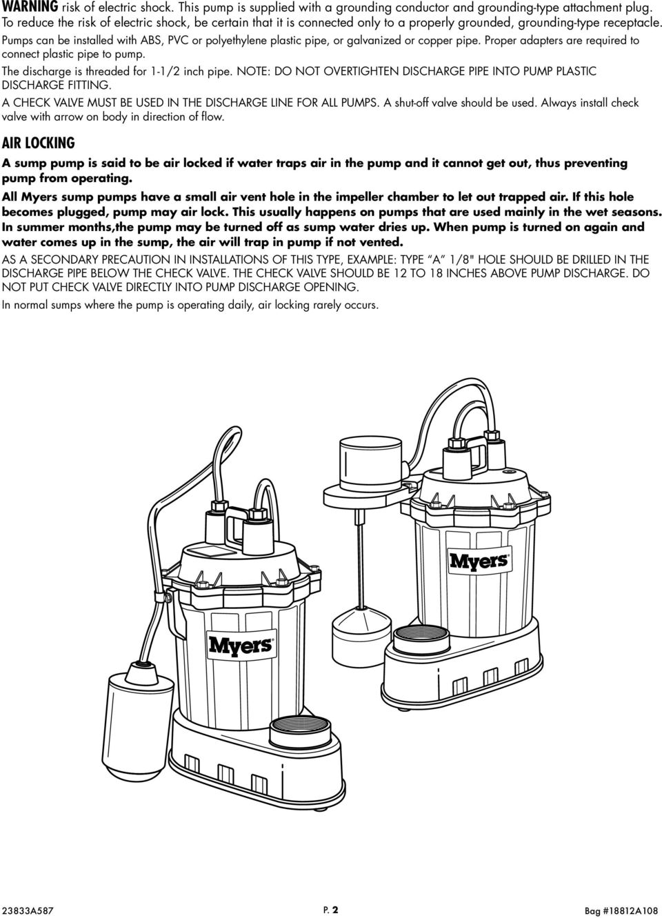 S33 Sump Pump Instructions And Service Manual Vertical Float Switch Wiring Diagram Pumps Can Be Installed With Abs Pvc Or Polyethylene Plastic Pipe Galvanized