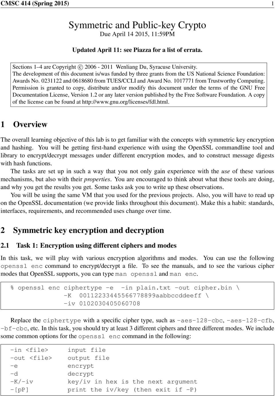 Symmetric and Public-key Crypto Due April , 11:59PM - PDF
