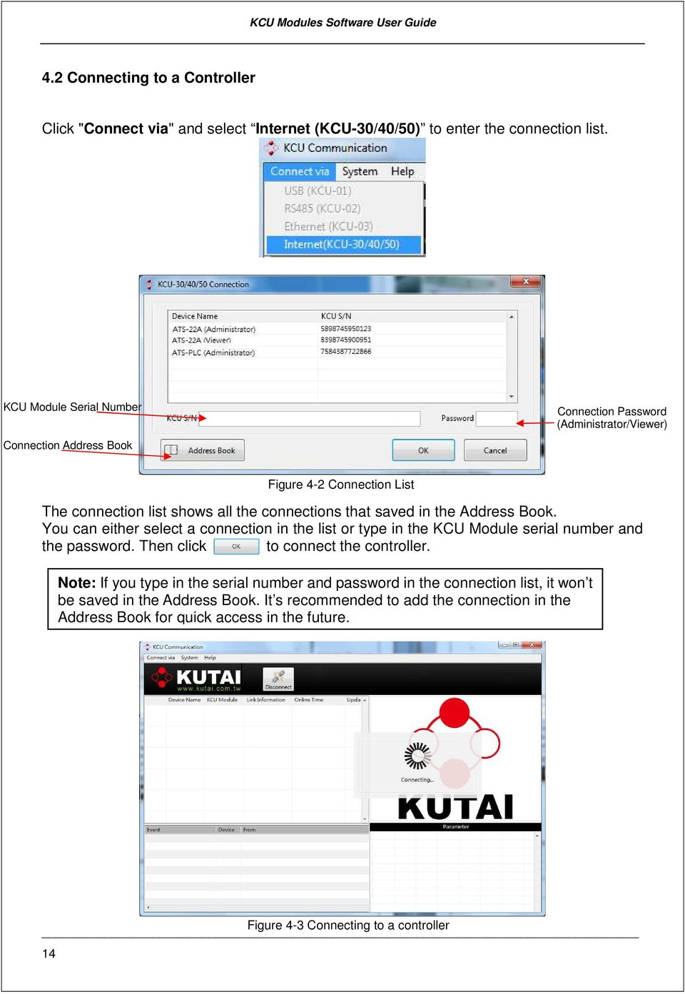 Kcu Communication Pc Software Installation And User S Guide For Wiring Panel Ats Amf In The Address Book You Can Either Select A Connection List Or Type