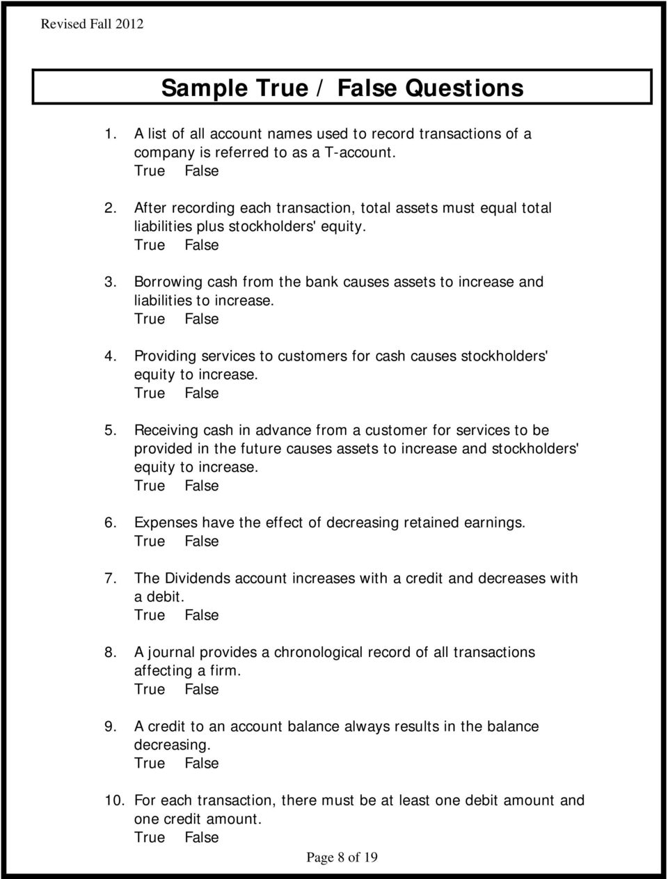 chapter 6 study guide accounting true and false
