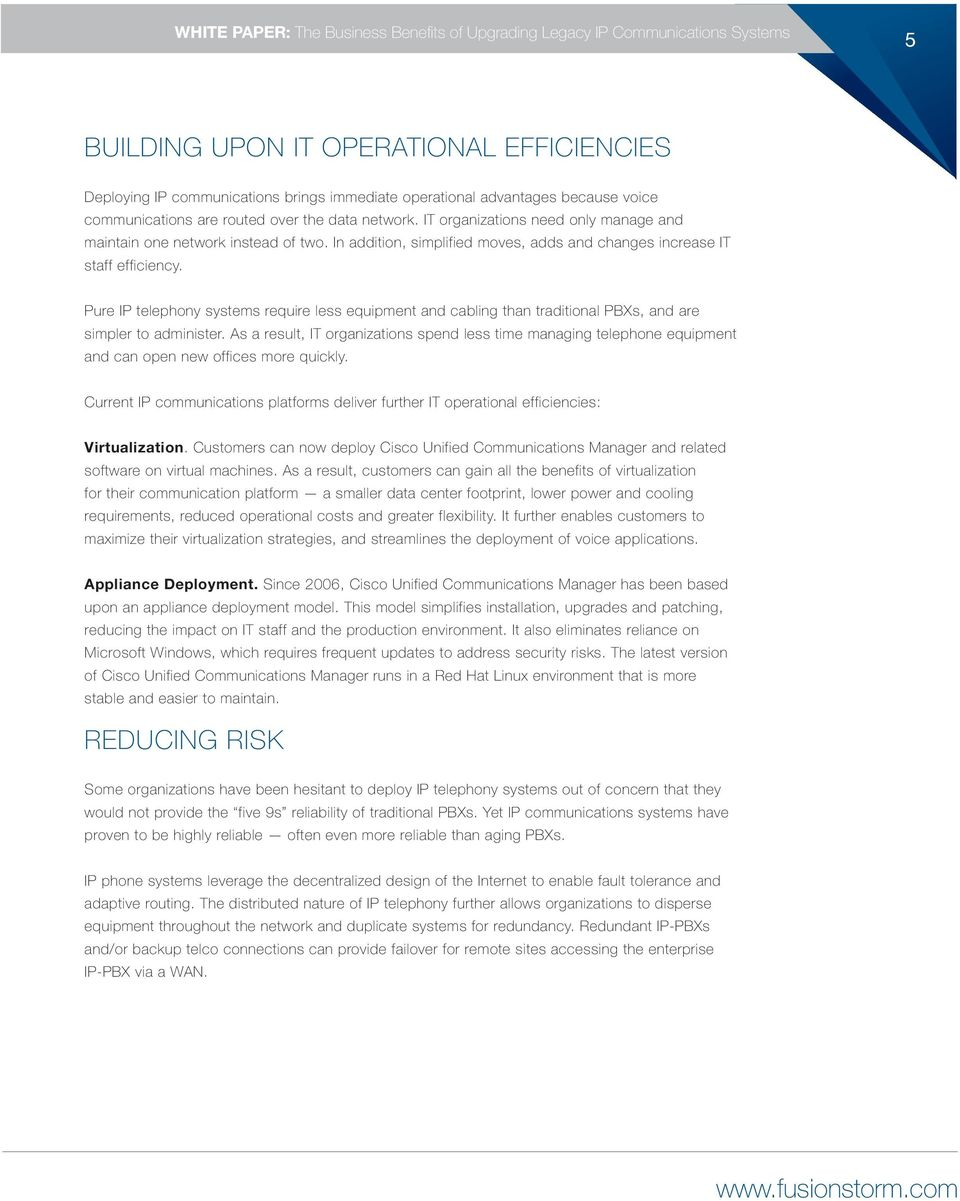 WHITE PAPER  The Business Benefits of Upgrading Legacy IP