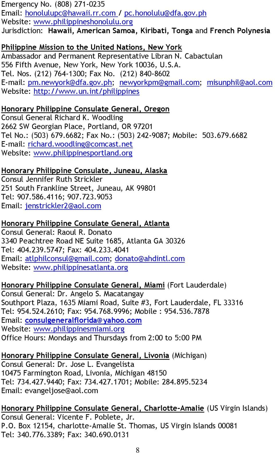 CONSULAR SERVICE GUIDE AND TELEPHONE DIRECTORY MAY 2013