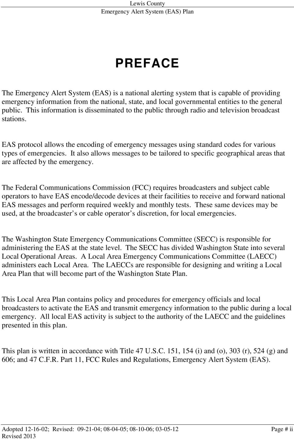 Emergency Alert System Plan (EAS) - PDF