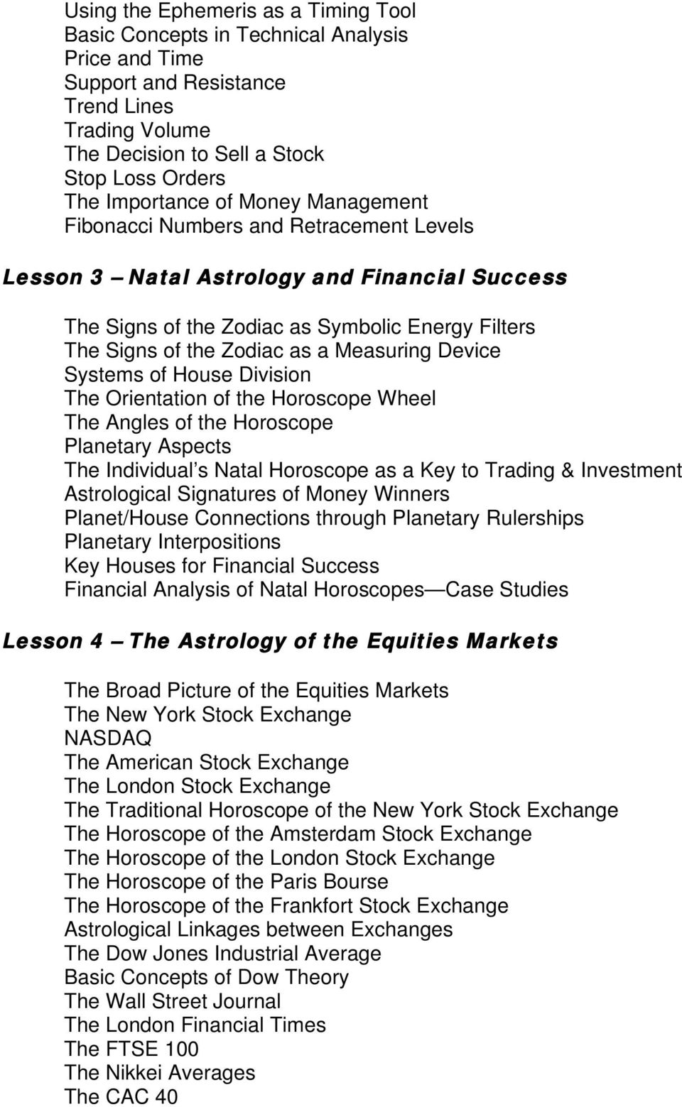 Tim Bost s Basic Stock Market Astrology Home Study Course - PDF