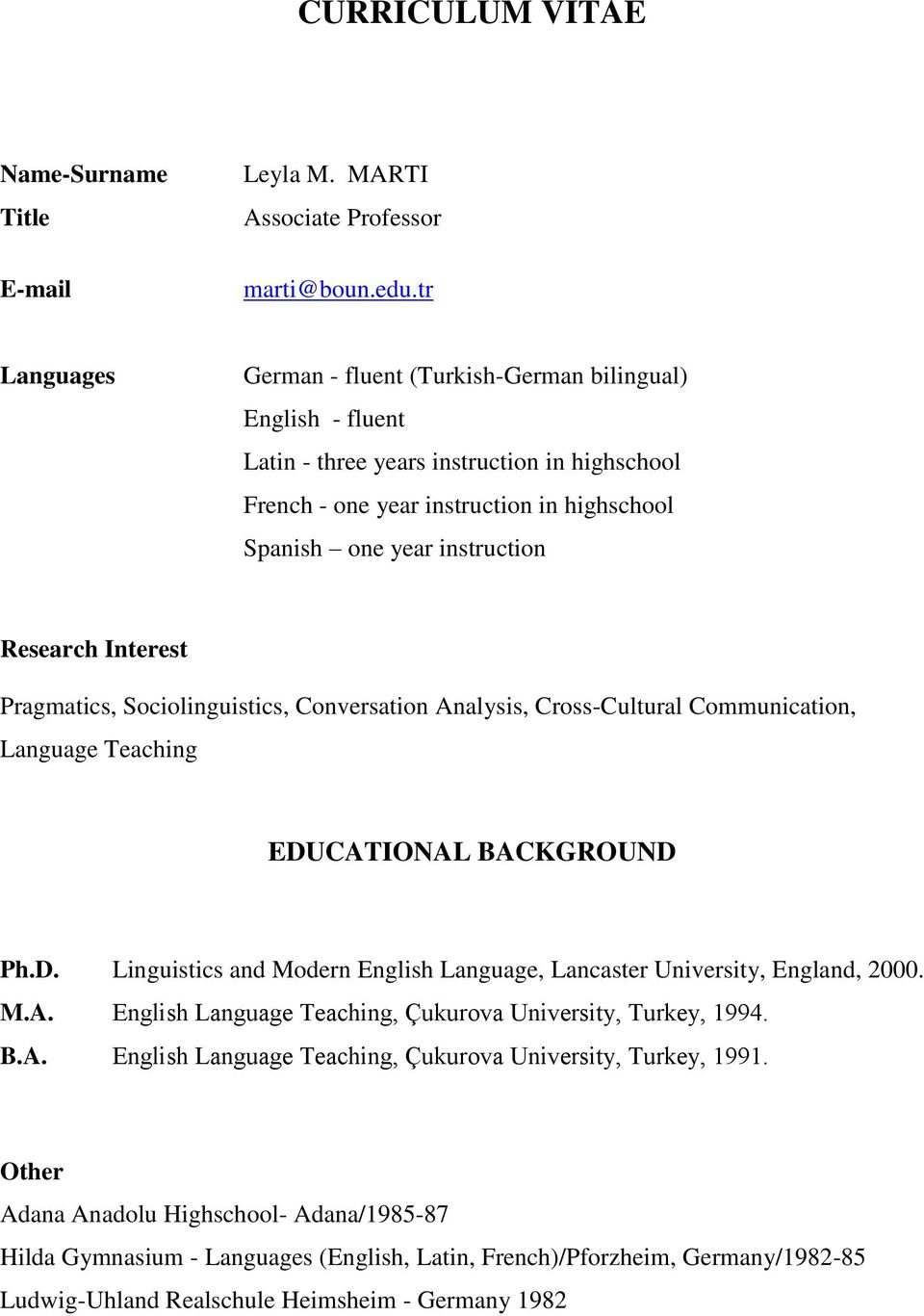 Curriculum Vitae Pragmatics Sociolinguistics Conversation