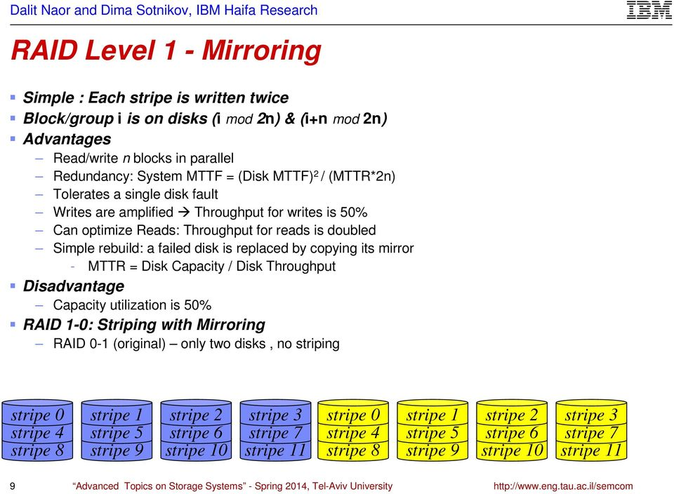 mirror - MTTR = Disk Capacity / Disk Throughput Disadvantage Capacity utilization is 50% RAID 1-0: Striping with Mirroring RAID 0-1 (original) only two disks, no striping stripe 0 stripe 4 stripe 8