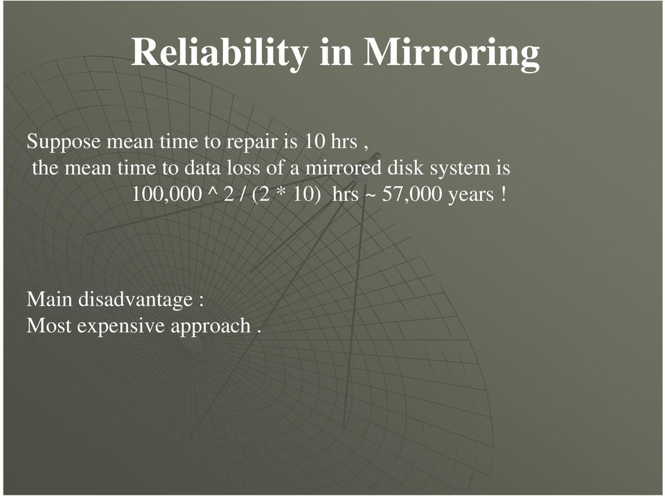 mirrored disk system is 100,000 ^ 2 / (2 * 10) hrs