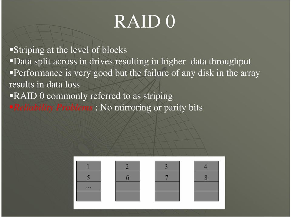failure of any disk in the array results in data loss RAID 0 commonly