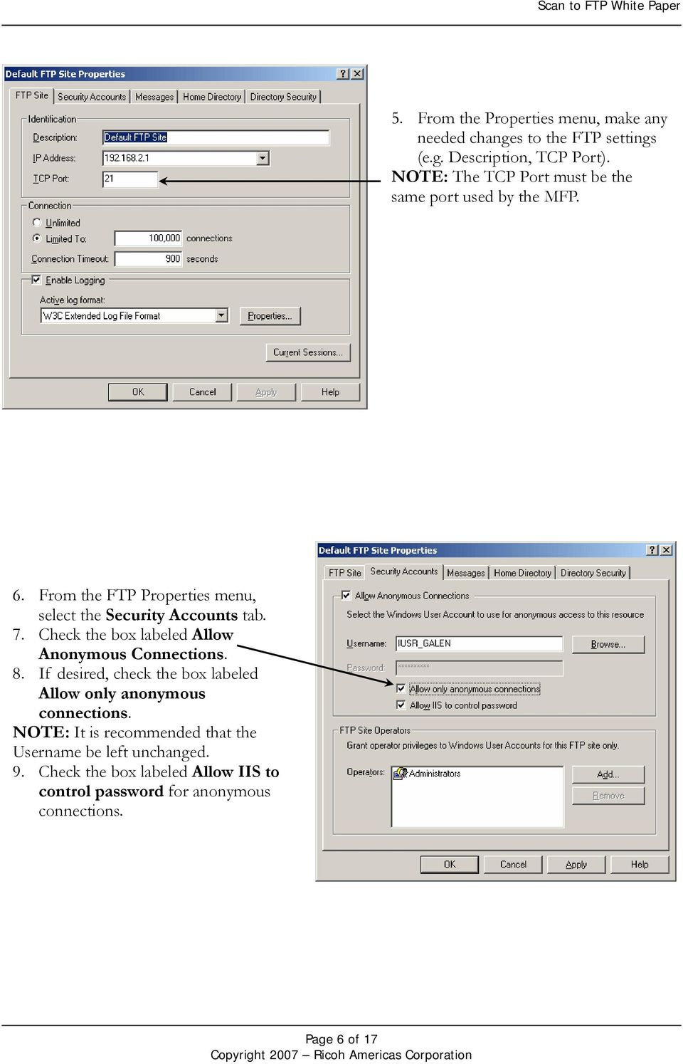 Scan to FTP White Paper Ricoh Americas Corporation May PDF