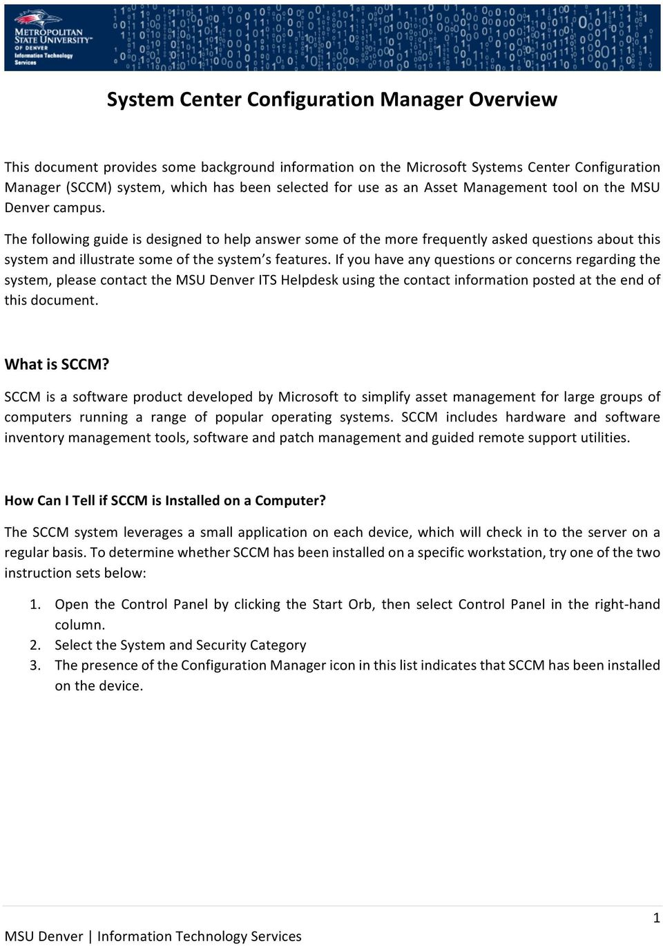 System Center Configuration Manager Overview - PDF
