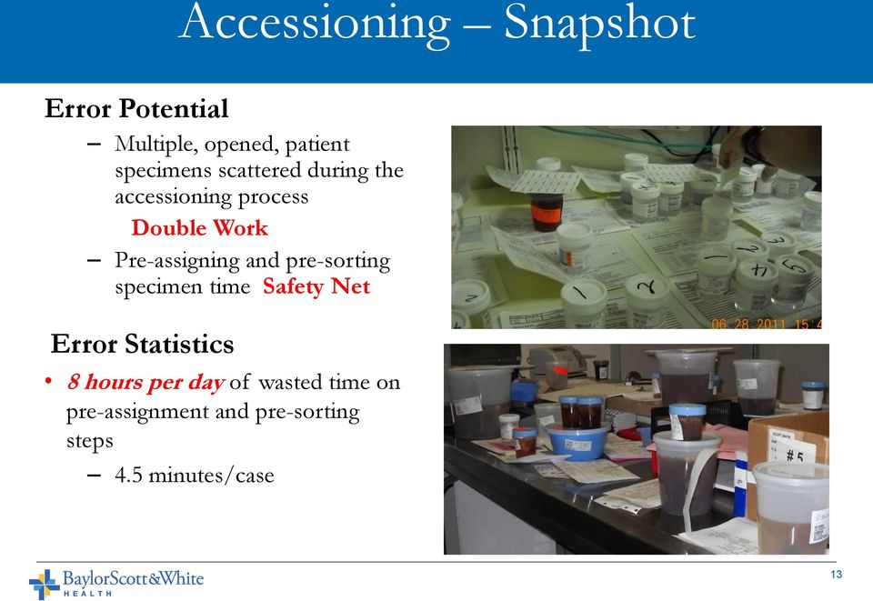 Pre-assigning and pre-sorting specimen time Safety Net Error Statistics