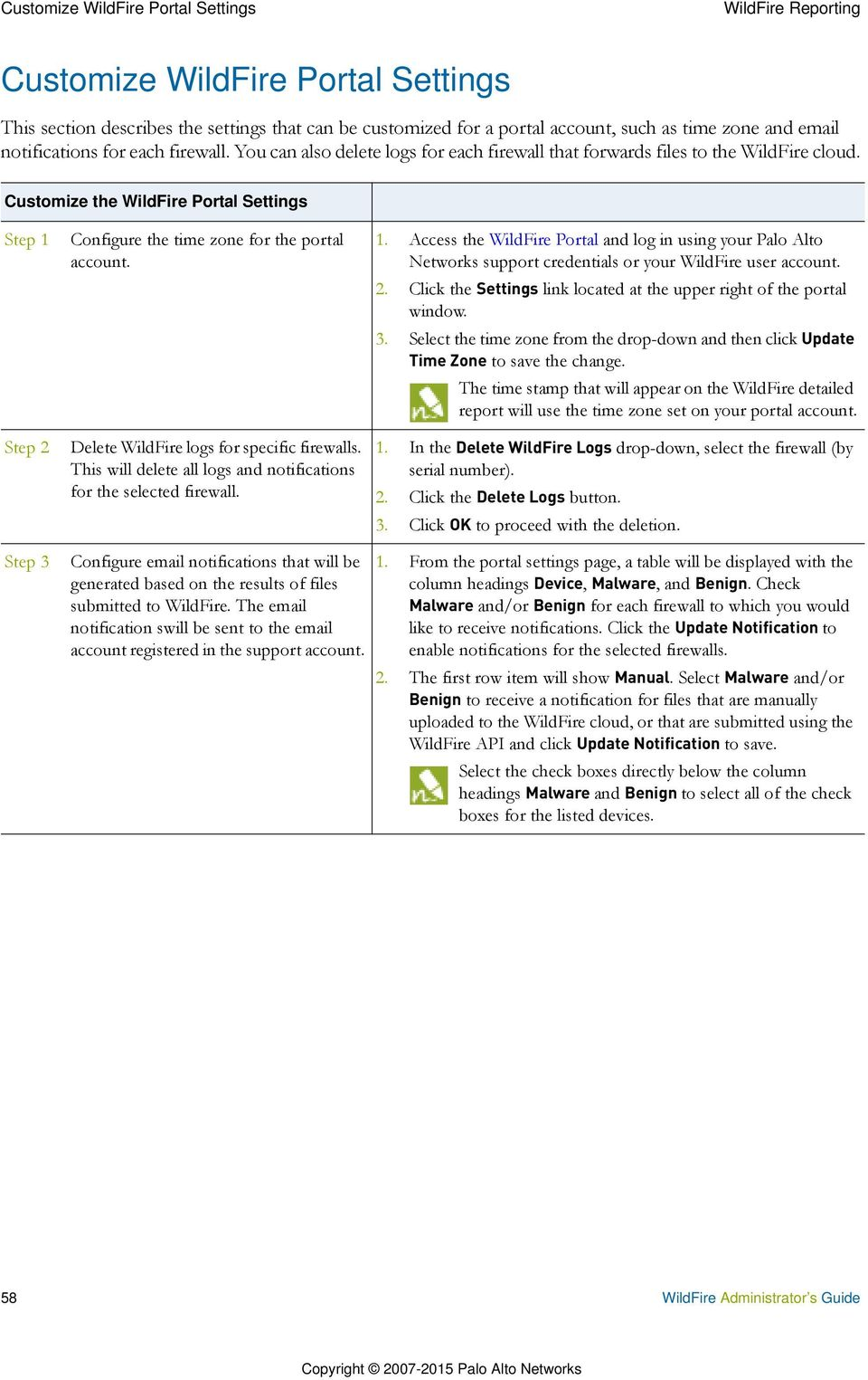 WildFire Reporting  WildFire Administrator s Guide 55