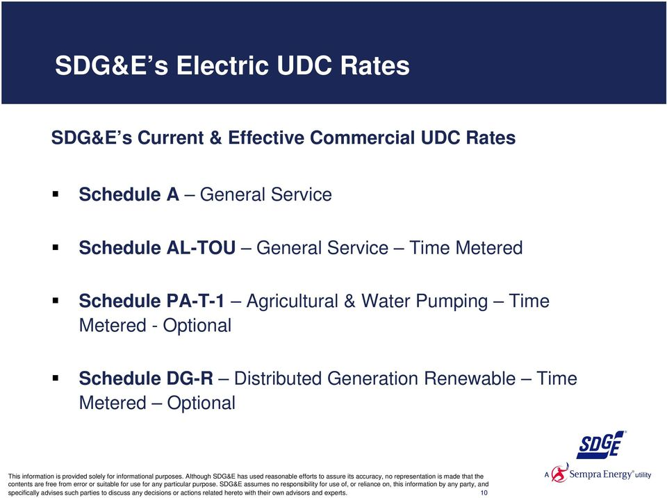 - Optional Schedule DG-R Distributed Generation Renewable Time Metered Optional specifically advises