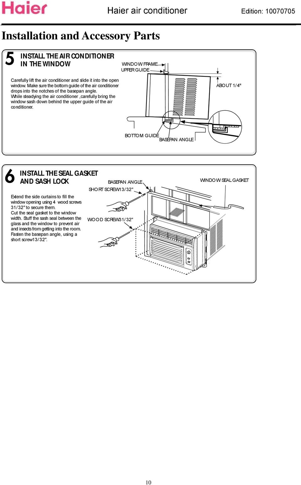 Service Manual Domestic Air Conditioner Model Feature Hw 05ln03 Pdf Haier Handler Wiring Diagrams While Steadying The Conditionercarefully Bring Window Sash Down Behind Upper Guide