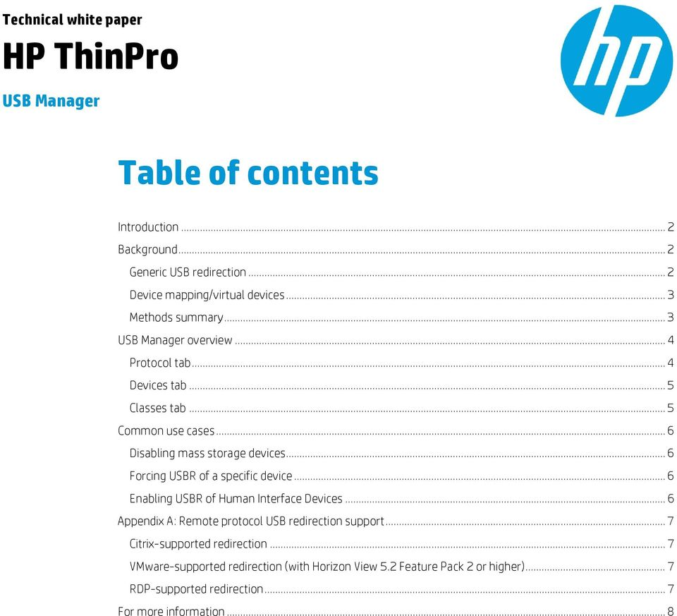 HP ThinPro  Table of contents  USB Manager  Technical white