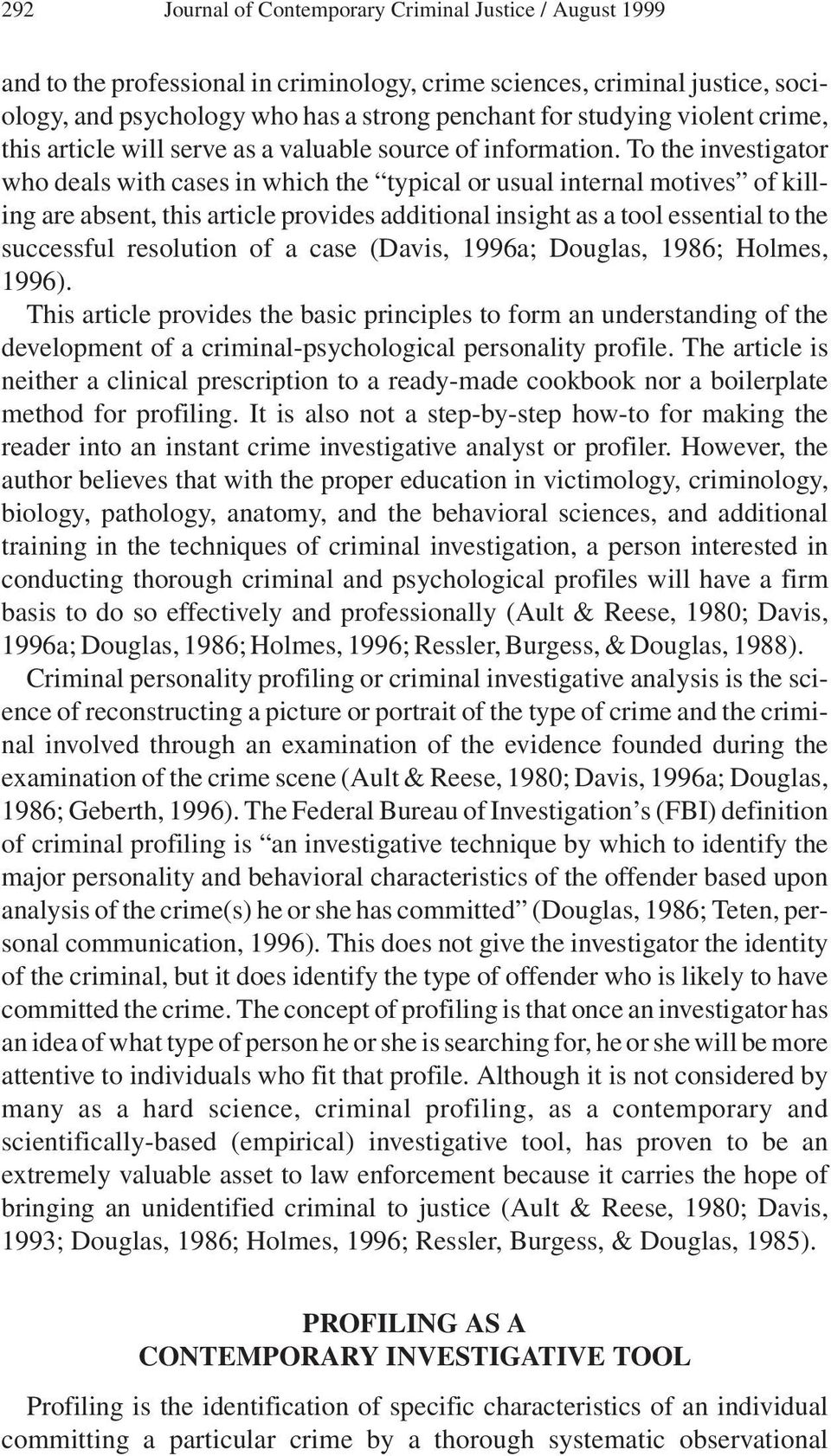 Criminal Personality Profiling and Crime Scene Assessment  A